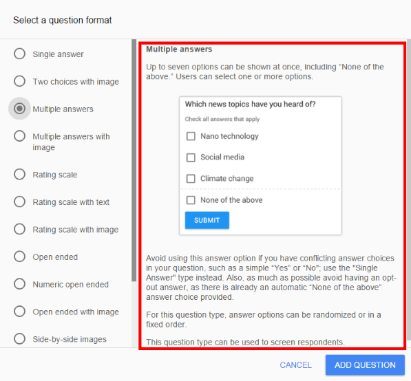 Multiple answer question option